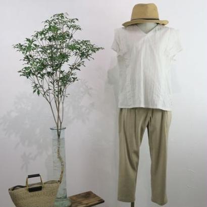 isato   コットンリネン ストライブブラウス/ホワイト