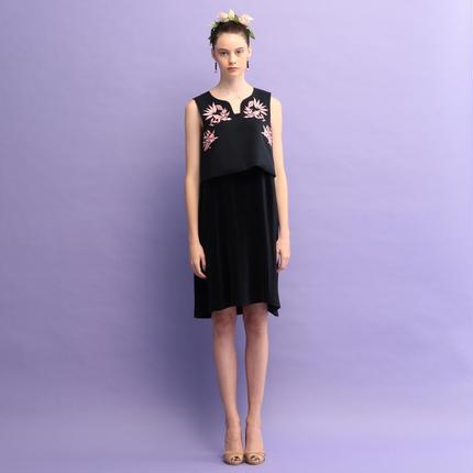 【予約販売】バードエンブロプリーツドレス