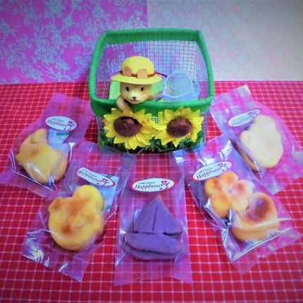 ひまわり畑のクマちゃんケースに夏の焼き菓子5袋詰め合わせ