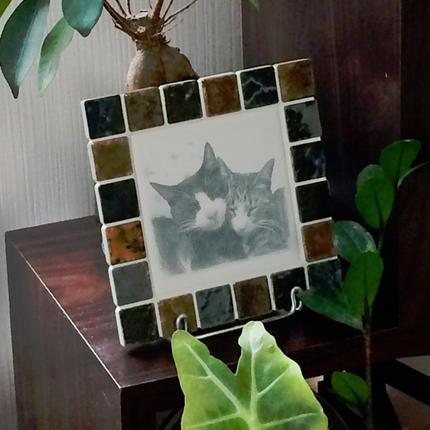 アンティークカラー/ウィザードリーフス(M)◆Tile Picture Frame/Antique Tone/WITHERED LEAVES◆