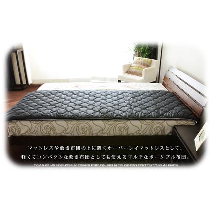 ブレスエアー®×東洋紡アルファイン® 丸ごと洗える防ダニ敷き布団ポータブル セミダブルサイズ