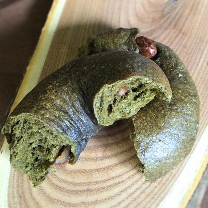 抹茶うす甘納豆のベーグル