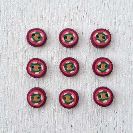 ボタン (red pink gold kinali green kalasi)
