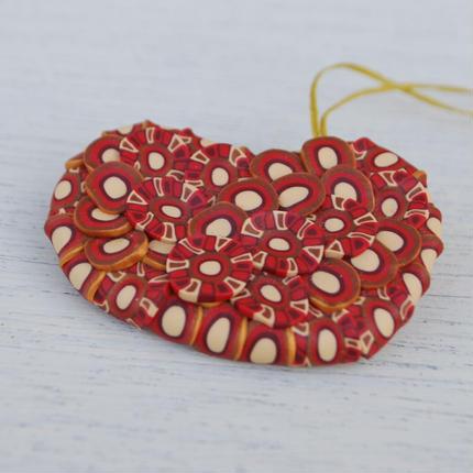 ぶつぶつブローチ gold kinari red  enji