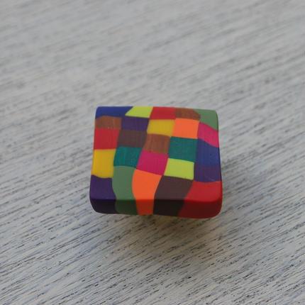 帯留 四角カラフル
