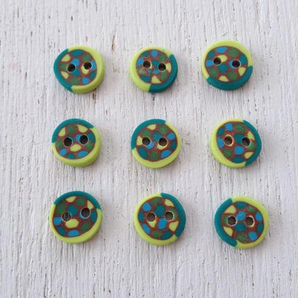ボタン(green kimidoli gold blue)