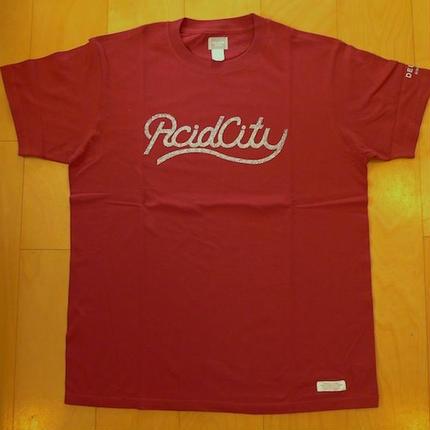 DELUXE x NITELIST ACID CITY  Classic Tee Shirts BURGANDY