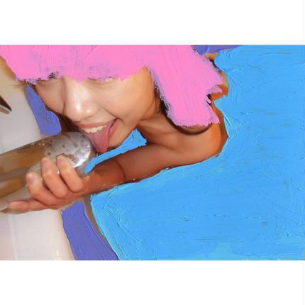 【003】PINK HEAD IN BLUE WATER