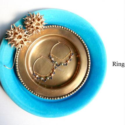 14Kgf サファイヤとクリスタルパールのゴールドフープピアス