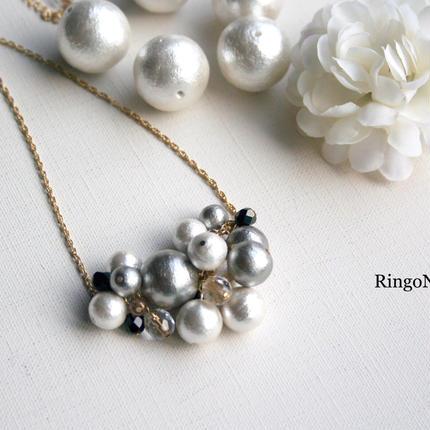 コットンパールのpetite-bouquet ネックレス(シルバー)