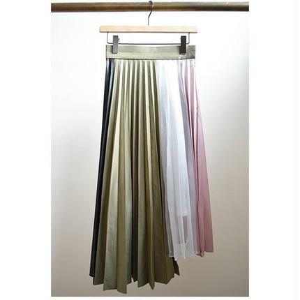 material MIX peated flare skirt KHAKI MIX