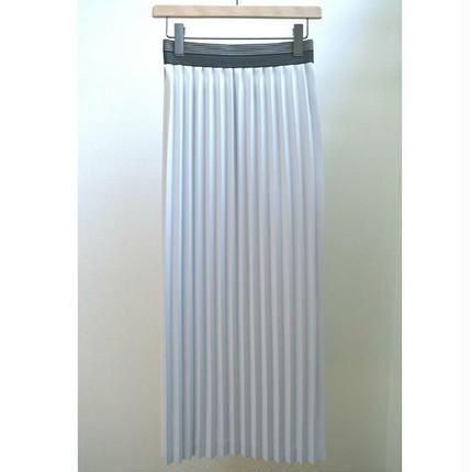 double elastic belt peated skirt L-GRAY
