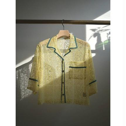 bicolor piping lace blouse YELLOW