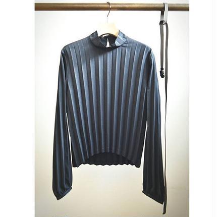 pleated blouse with herringbone belt BLACK