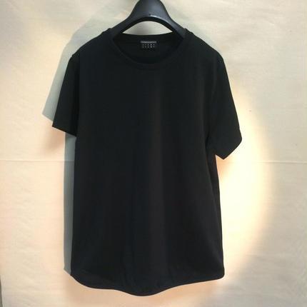 Round hem Plain T-shirt