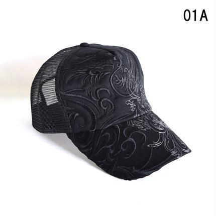 和柄刺繍 トライバル メッシュキャップ(7683-921,01A,ブラック・ドラゴン)