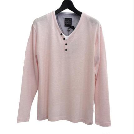 AMORTE ニットソー フェイク 4つボタン Yヘンリー Tシャツ(7402-100,13B,ライトピンク)