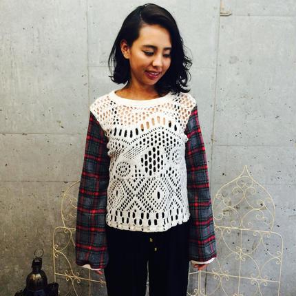 タータンチェック柄セーター