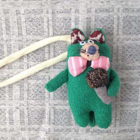 くにはら ゆきこ  |  バッグチャーム /  マイク動物緑