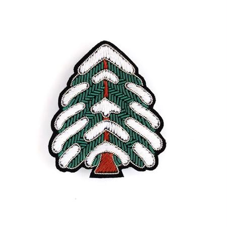 "MACON & LESQUOY LARGE HAND-EMBROIDERED ""CHRISTMAS TREE"" ブローチ"
