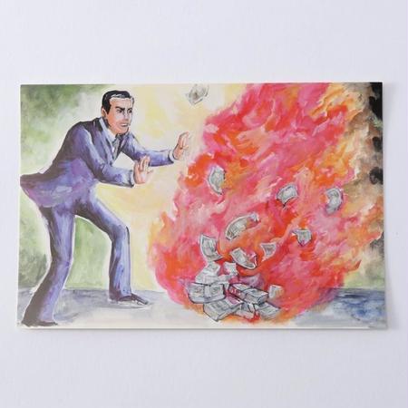 ポストカード「札束をたきびにするゴージャスさ」