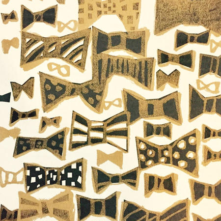 Postcard  Ribbon  black&gold