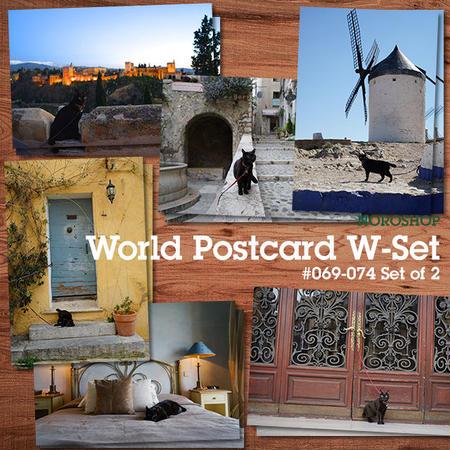 ワールドポストカード Wセット #069-074各2枚