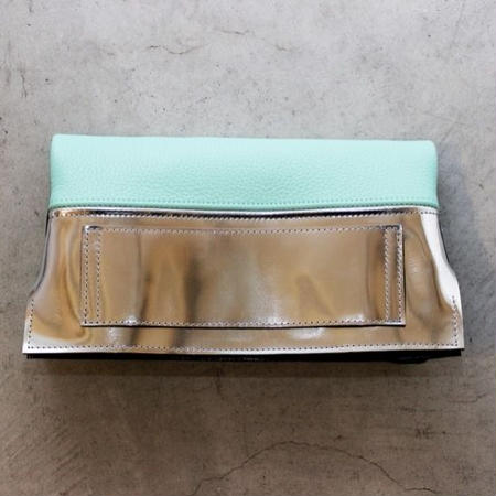 LEATHER REVERSIBLE CLUTCH BAG SMALL