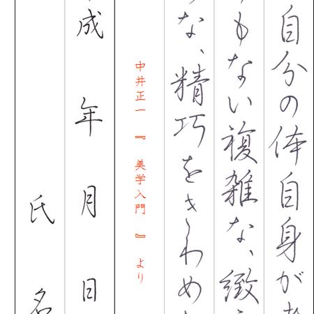 ★ダウンロード販売★[¥100]ペン字【行書】~『美学入門』中井正一~より