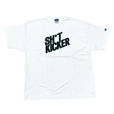 SH*T KICKER / SLANTING LOGO CHAMPION T-SHIRTS -White- [SK-030]