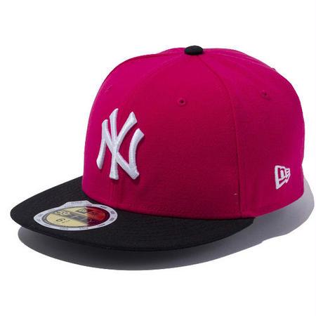 【 NEW ERA / ニューエラ 】KIDS 59FIFTY ニューヨーク・ヤンキース /ブライトローズ×ホワイト ブラックバイザー