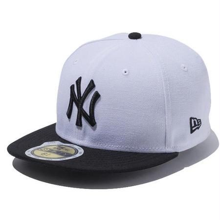 【 NEW ERA / ニューエラ 】KIDS 59FIFTY ニューヨーク・ヤンキース /ホワイト×ブラック ブラックバイザー