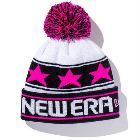 【 NEW ERA KID'S/ ニューエラ キッズ 】Pom-Pon Knit Star Line/ホワイト×ブラック×蛍光ピンク