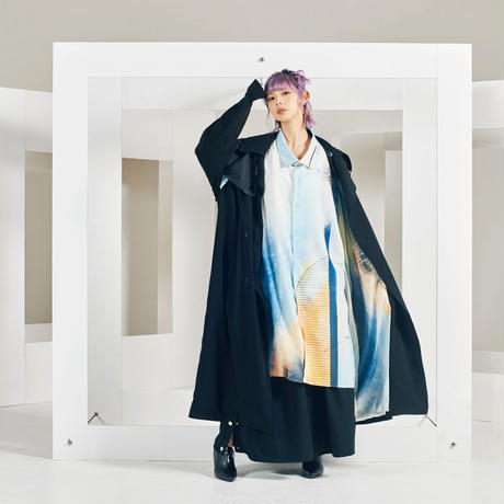Cryptogram long trench coat / 2color