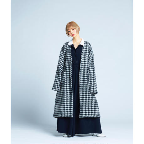Lily houndstooth no collar coat