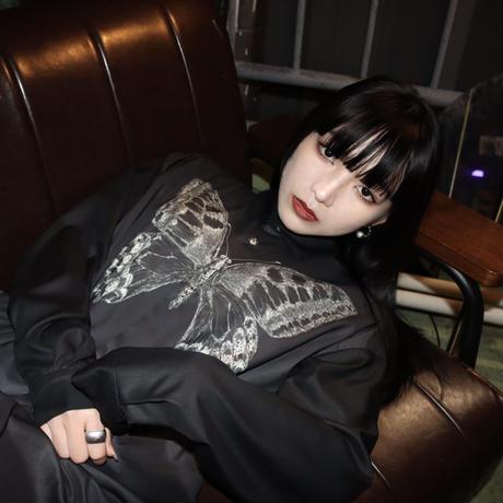 蝶 dress shirt / black