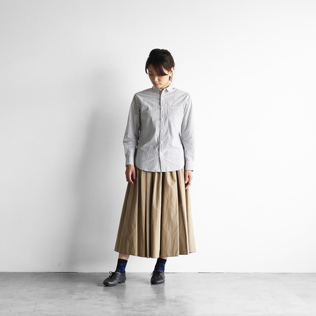 オーガニックコットンストライプシャツ(グレーストライプ)【ユニセックス】