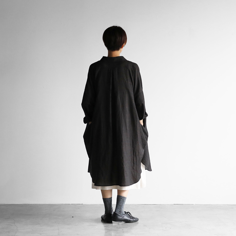 ウォッシャブルウールロングシャツ(ダークブラウングレー)【ユニセックス】016