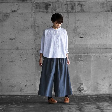 綿ウールタイプライタークロススカートパンツ(ブルーグレー)【レディス】505