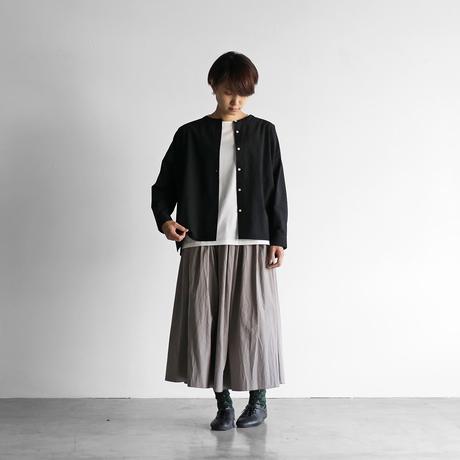 綿ウールタイプライタークロスバンドカラーワイドブラウス(ブラック)【レディス】U104