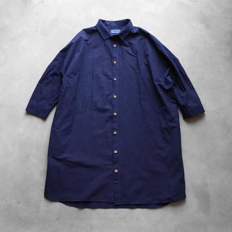 HUIS×sayu本藍染めコットンロングシャツ【ユニセックス】