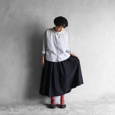 綿ウールタイプライタークロスロングスカート(クロ)【レディス】