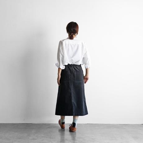 シャトルコーデュロイプレーンスカート(チャコールグレー)【レディス】