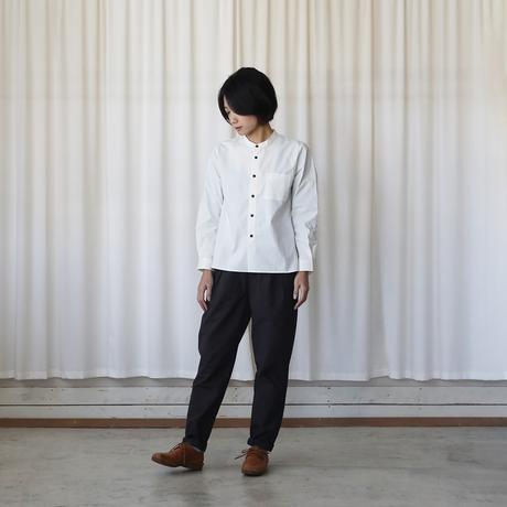 オーガニックコットンバンドカラーコットンシャツ(アイボリー)【ユニセックス】