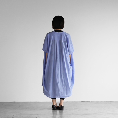 なめらかコットンコクーンワイドワンピース(ブルー)【レディス】U211