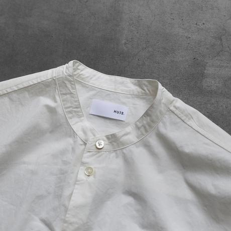 タイプライタークロスバンドカラーオーバーシャツ(白)【ユニセックス】015