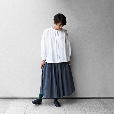 綿ウールタイプライタークロスロングスカート(ブルーグレー)【レディス】U402