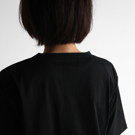 [HUIS in house]SUVIN COTTON5分袖カットソー(kuro)【ユニセックス】CS101