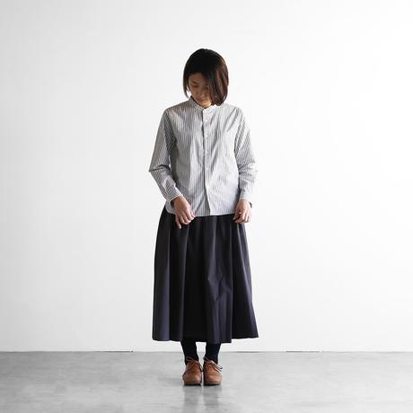 オーガニックコットンバンドカラーシャツ(ストライプグレー)【ユニセックス】