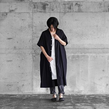タイプライタークロスショートスリーブロングシャツ(ブラック)【ユニセックス】014